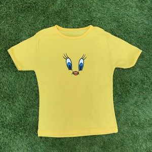 vintage bright yellow tweety ringer tee small